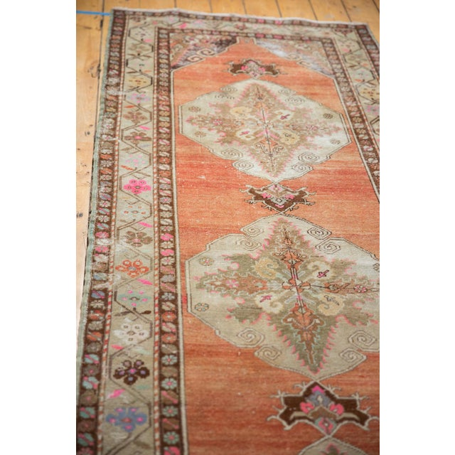 """Old New House Vintage Distressed Oushak Rug Runner - 3'5"""" X 10'11"""" For Sale - Image 4 of 13"""