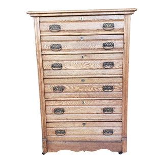 1920s Antique Oak Chest of Drawers For Sale