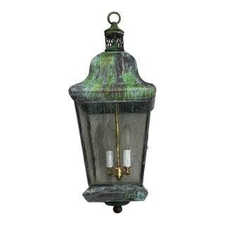 Vintage 1970s Four Sides Brass Hanging Lantern For Sale