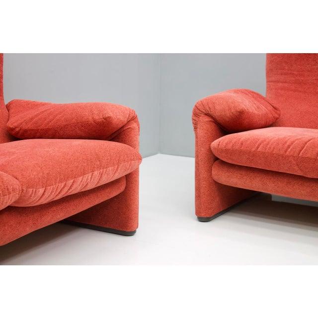 Red Vico Magistretti Living Room Set Maralunga Sofa and Stool Cassina, Italy, 1973 For Sale - Image 8 of 13