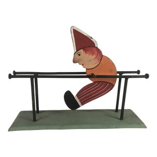 1950s Vintage Dunce Toy on Parallel Bars With Motion For Sale