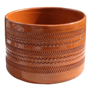 Vintage Mid-Century Orange Incised Planter