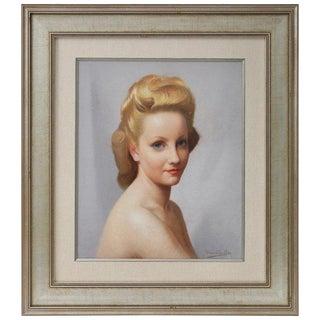 1930s Vintage Portrait of a Woman Pastel Painting by Robert Louis Raymond Duflos For Sale