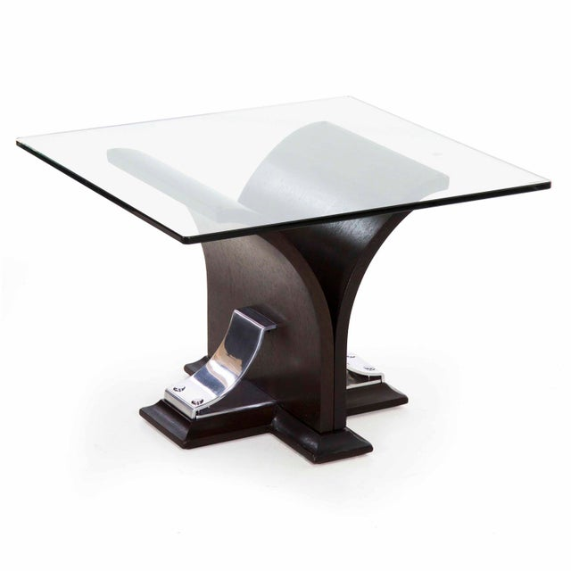 Art Deco Walnut and Aluminum Side Table For Sale - Image 13 of 13