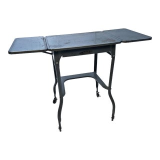 Vintage Industrial Gray Metal Typewriter Table with Double Drop Leaf