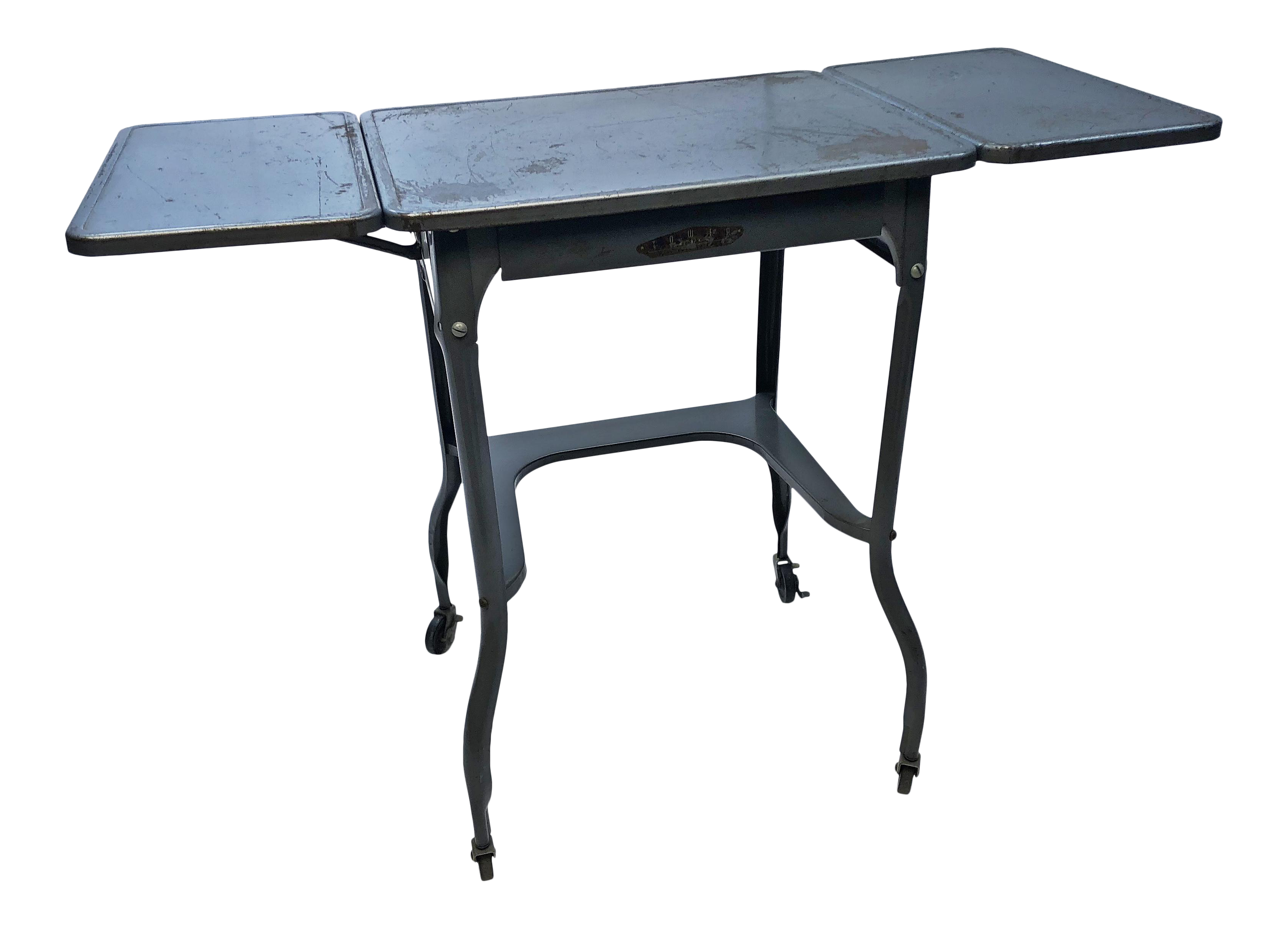 Vintage Industrial Gray Metal Typewriter Table With Double Drop Leaf    Image 1 Of 13