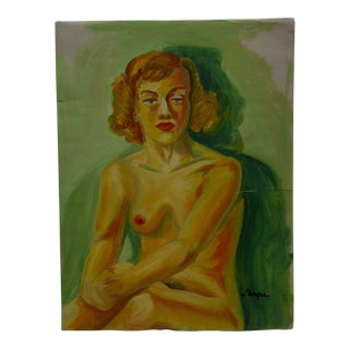 "1949 Mid-Century Modern Original Painting on Paper, ""Single Nude Breast"" by Tom Sturges Jr"