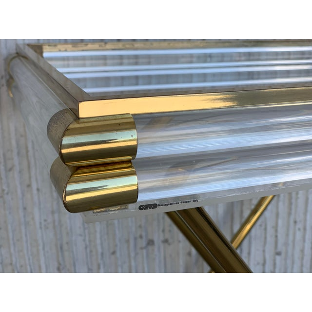 Mid-Century Modern Italian Tray Table With Brass Legs by Montagnani For Sale In Miami - Image 6 of 7