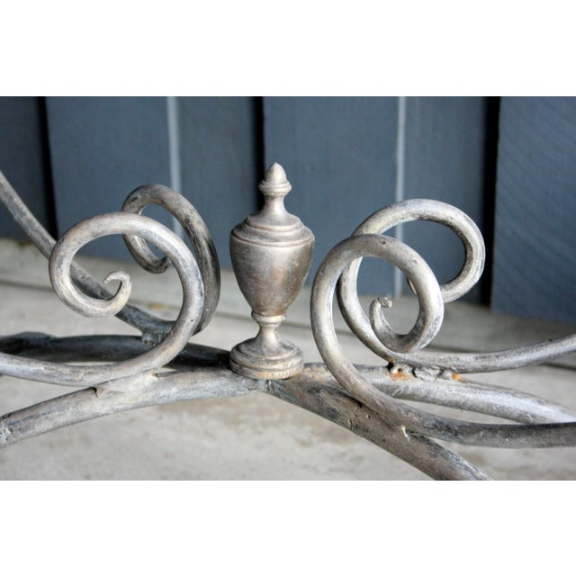 French Scrolled Iron Butcher / Pastry Table With White Marble Top For Sale - Image 11 of 13