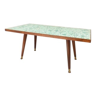 1960s Mid Century Modern Aqua Green Mosaic Stone Coffee Table For Sale