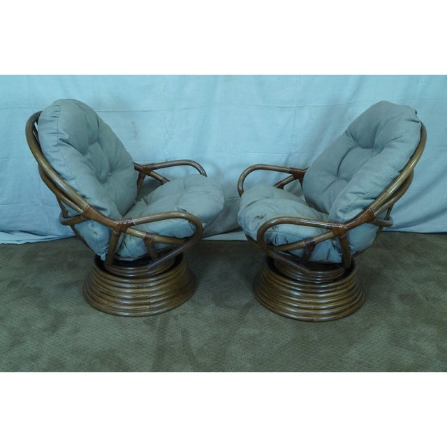 Quality Rattan Swivel Rocking Lounge Chairs - Pair - Image 3 of 10