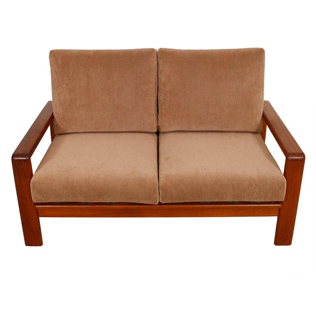 Vintage Teak Loveseat with New Upholstery - Image 1 of 10