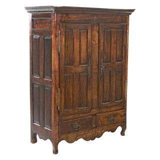 Early 19th Italian Century Rustic Oak Armoire For Sale