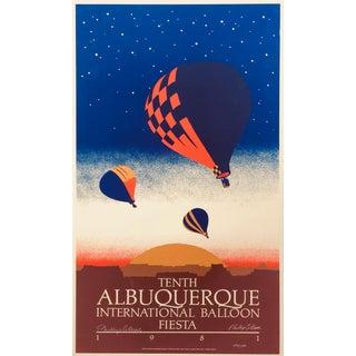 1981 Vintage Signed Albuquerque Balloon Fiesta Lithograph For Sale
