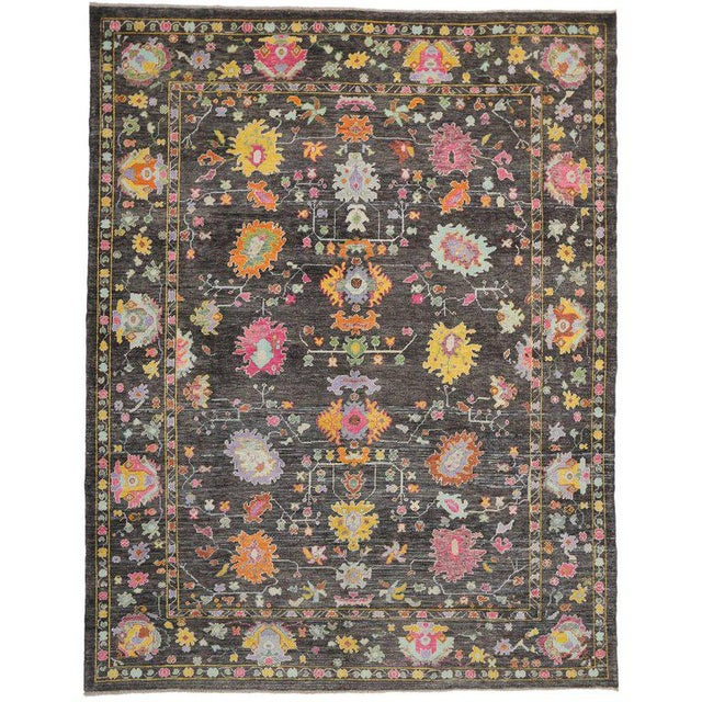 Contemporary Turkish Oushak Rug with Modern Style For Sale - Image 4 of 4