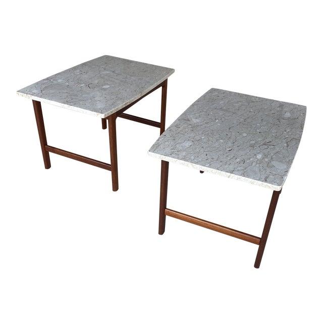 1950s Danish Modern Dux Folke Ohlsson Travertine Top Tables - a Pair For Sale