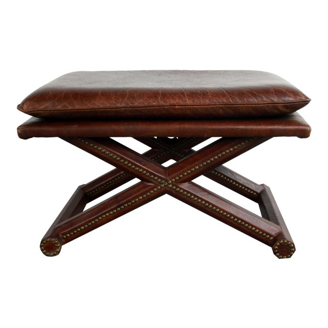 Superb Brown Leather Crossed X Base Ottoman Bench Beatyapartments Chair Design Images Beatyapartmentscom