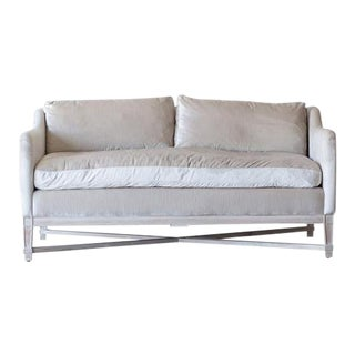 French Velvet Loveseat in Soft Grey - Showroom Model, Perfect Condition For Sale