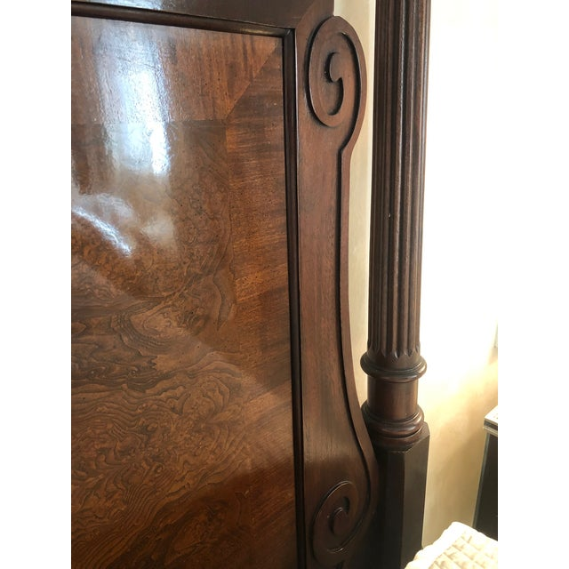 1990s Century Furniture Tradtional Mahogany Headboard With Burl Inlay For Sale - Image 5 of 9