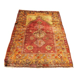 "1960s Turkish Anatolian Wool Rug - 4'x5'7"" For Sale"