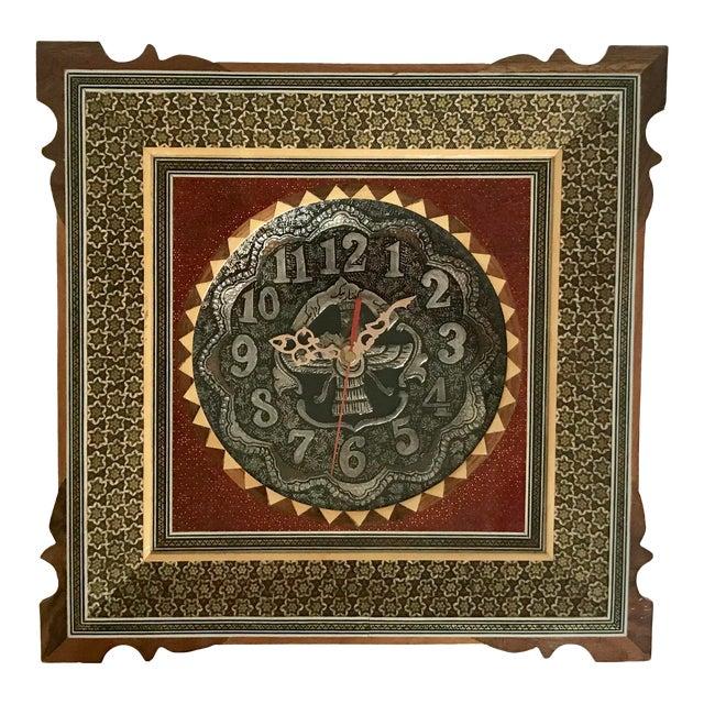 Khatam Kari Signed Original Wood Inlay Clock - Image 1 of 6