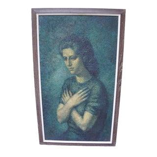 Stevan Kissel Framed Expressionism Oil on Wood-Board Girl Portrait For Sale