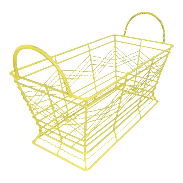 Contemporary Electric Yellow Bathroom Metal Wire Toiletries Catchall For Sale