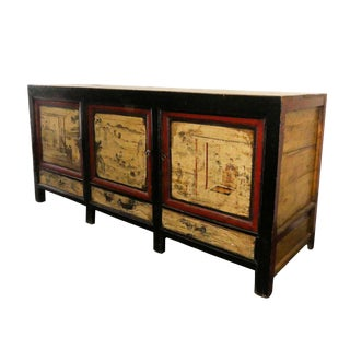 Rustic Asian Chinoiserie Paint Decorated Credenza, Sideboard, or Cabinet For Sale