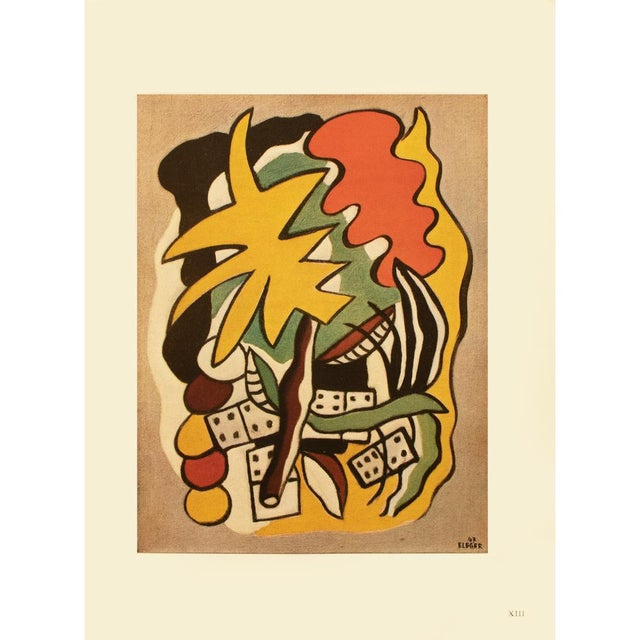 An excellent rare striking large First Edition period offset lithograph after painting Composition Aux Dominos (Dominoes...