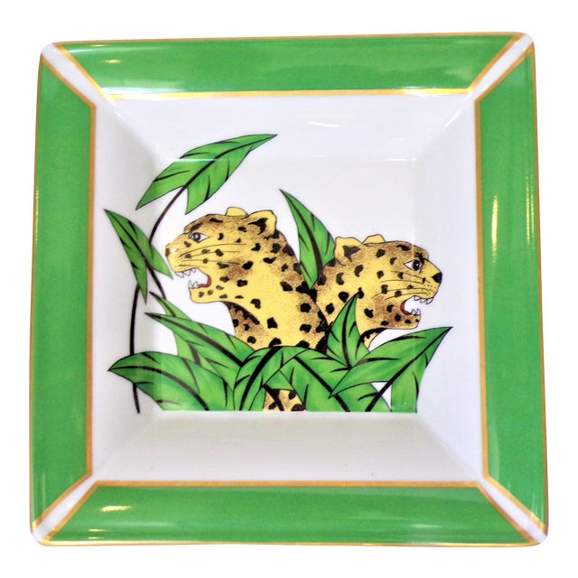 Vintage Philippe Deshoulieres Limoges Leopard Porcelain Trinket Tray / Catchall For Sale