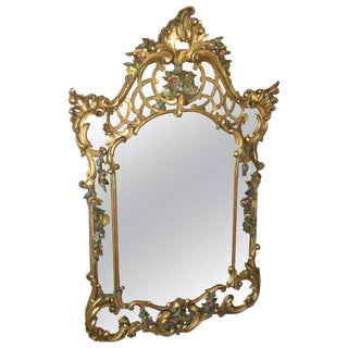 19th Century French Rococo Style Hand Carved Flowers Gilt Wall Mirror For Sale