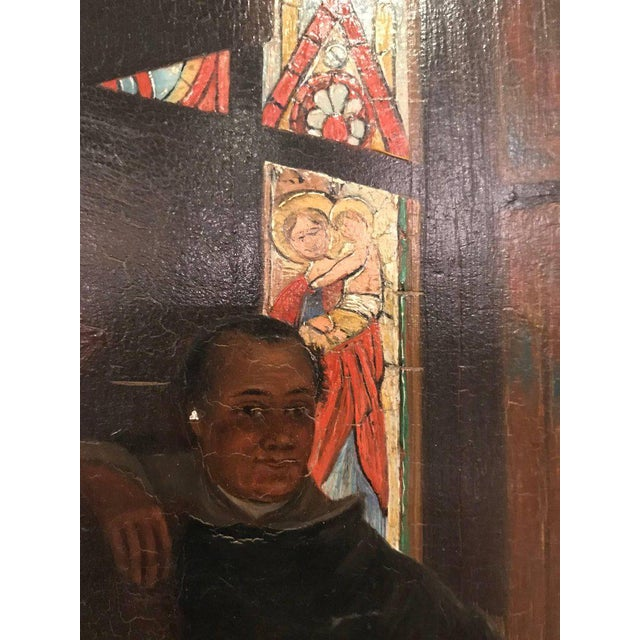 Early 20th Century A Late 19th Early 20th Century Oil Painting Of A Group Of Monks On Board For Sale - Image 5 of 12