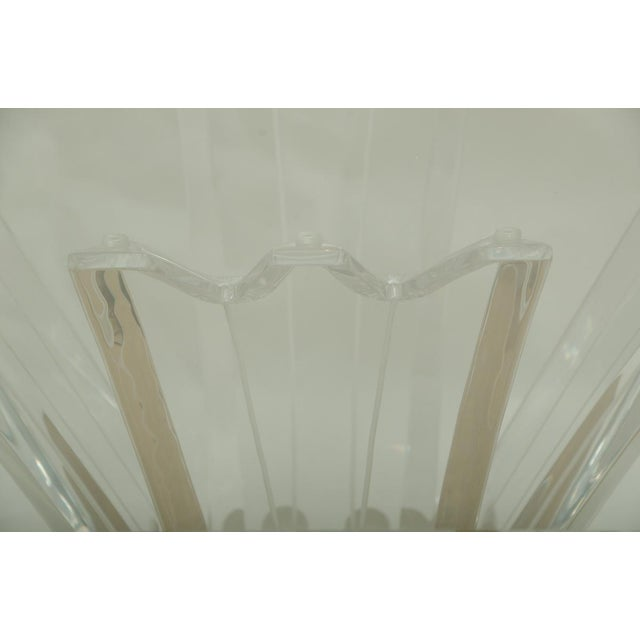 Beautiful Octagonal Dining Table with Lucite Base and Beveled Glass Top For Sale - Image 4 of 7