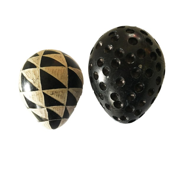 African African Carved Black & White Soapstone Eggs S/2 For Sale - Image 3 of 5