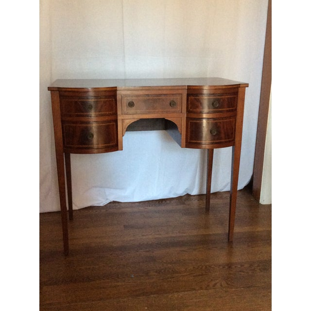 Beautiful finish Hepplewhite desk with inlay in great size when needing a smaller piece that makes a statement.