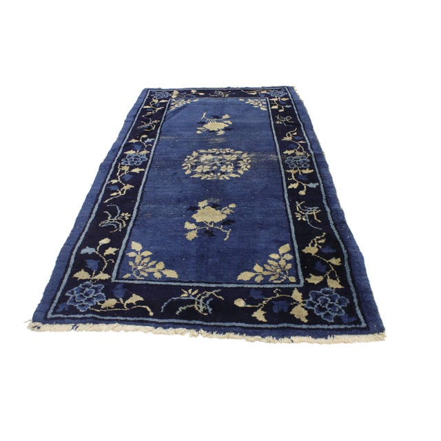 Art Deco Early 20th Century Antique Blue Chinese Art Deco Rug For Sale - Image 3 of 8