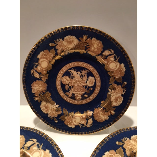 Spode Blue & Gold Floral Service Plates - Set of 12 For Sale In Chicago - Image 6 of 10