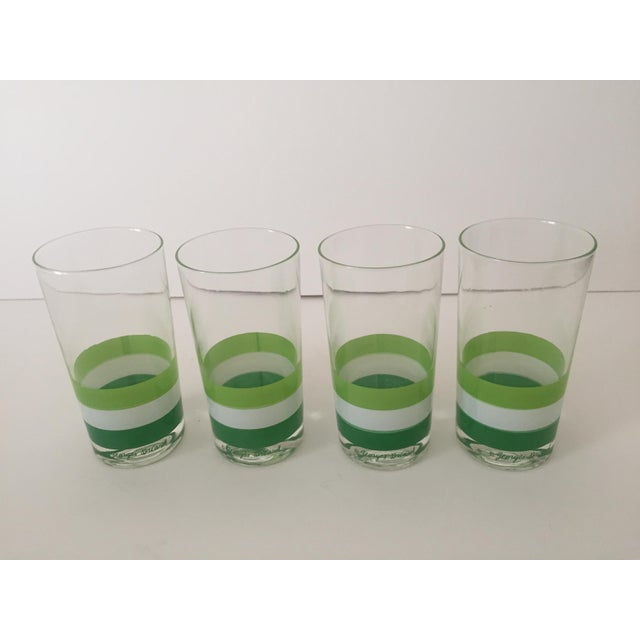 Georges Briard Georges Briard Mid Century Tri Striped Green Tumbler Glasses - Set of 4 For Sale - Image 4 of 6