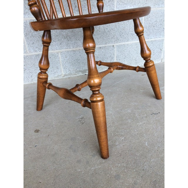 Ethan Allen Windsor Brace Back Nutmeg Side Chairs - Set of 4 For Sale - Image 9 of 11
