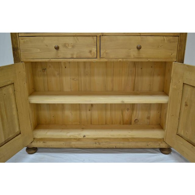 Antique Pine Bookcase With Two Doors and Two Drawers For Sale - Image 9 of 9