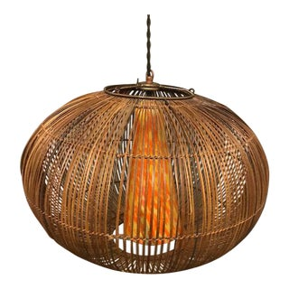 Vintage Rattan & Art Glass Light