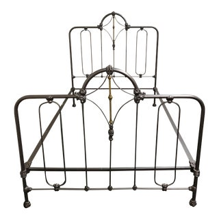 Vintage Brass + Iron Bed, Full For Sale