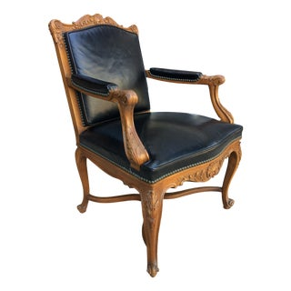 Vintage Danby Company Louis XV Style Leather Armchair For Sale