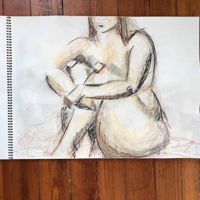 """Loose, figural drawing of nude by artist Alice Houston Miles, 2013. Charcoal and chalk on heavyweight paper. Measures 18""""..."""