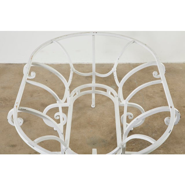Mid 20th Century Oval Wrought Iron Painted Garden Dining Table For Sale - Image 5 of 13