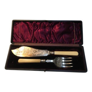 Victorian Silverplate Fish Knife & Fork in Case - Set of 2 For Sale