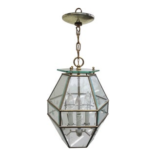 Vintage Brass and Beveled Glass Hall Lantern For Sale