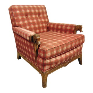 Romweber Oak Carved Club Chair For Sale