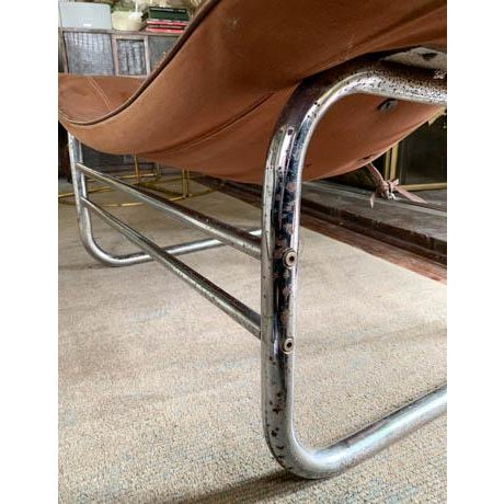 Mid Century Chrome and Leather Corset Tie Back Sling Chair For Sale - Image 9 of 13
