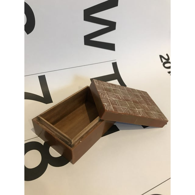 Early 21st Century Brown and Ivory Inlay Bone Box For Sale - Image 5 of 7